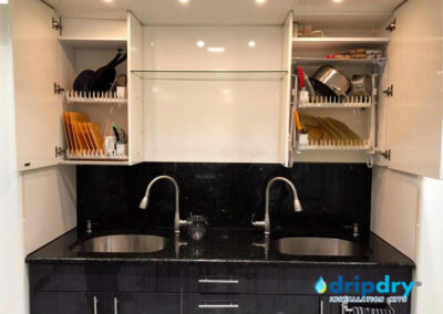 Kosher kitchen using cabinet dish rack, The DripDry