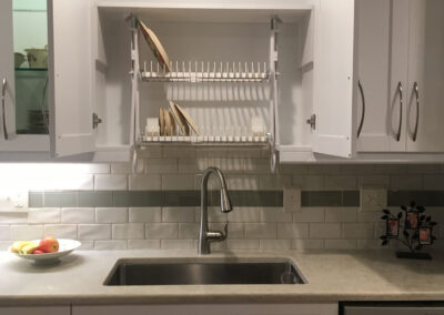 kitchen Cabinet is Organized with the cabinet dish rack