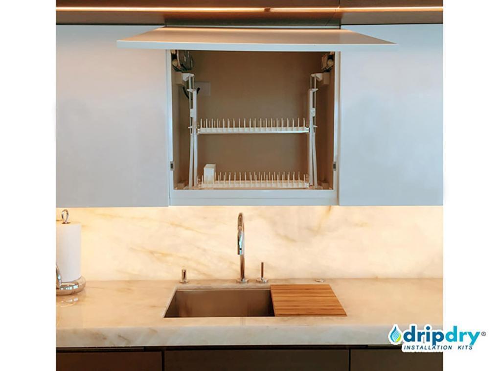 Sleek Design dish drying rack with static racks above a sink