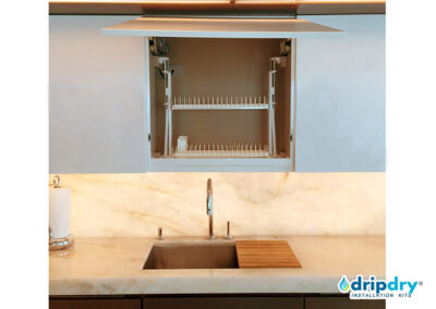 Sleek Design dish drying rack with static racks above a sink