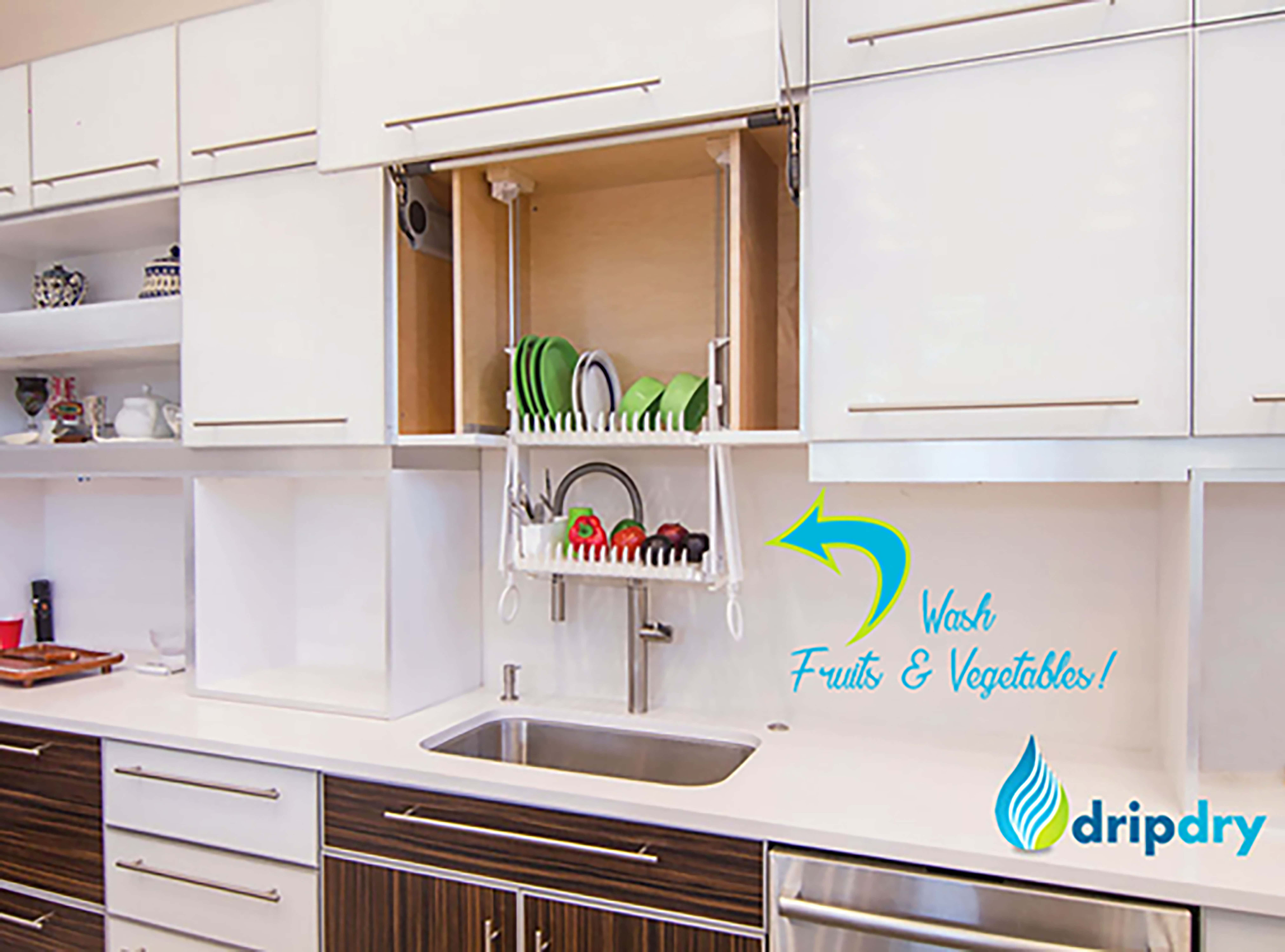 beautiful kitchen with The DripDry installed inside the cabinet