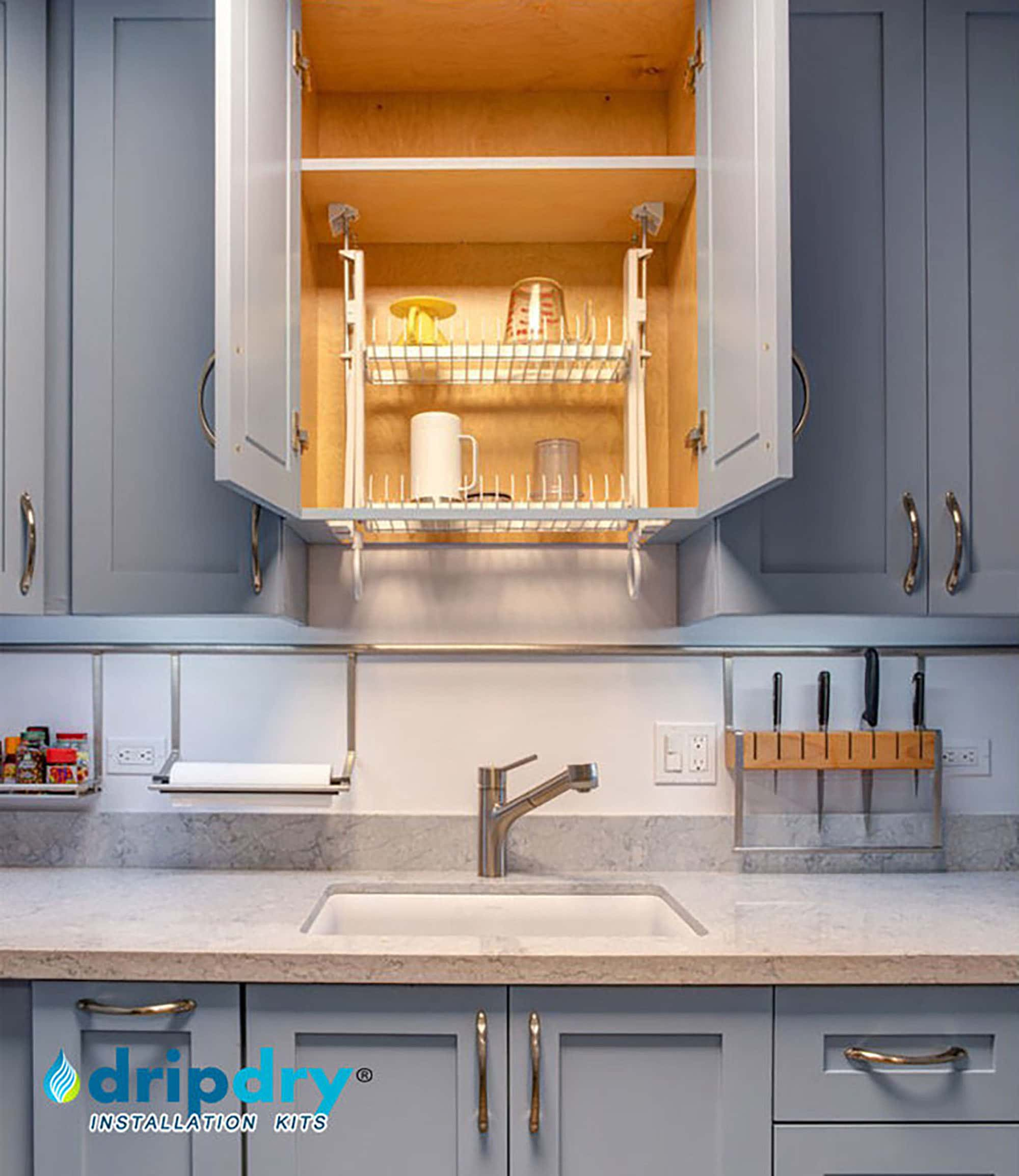 The DripDry cabinet dish rack is installed in a framed customized stock cabinet on bottom frame. Upper position with sink below.