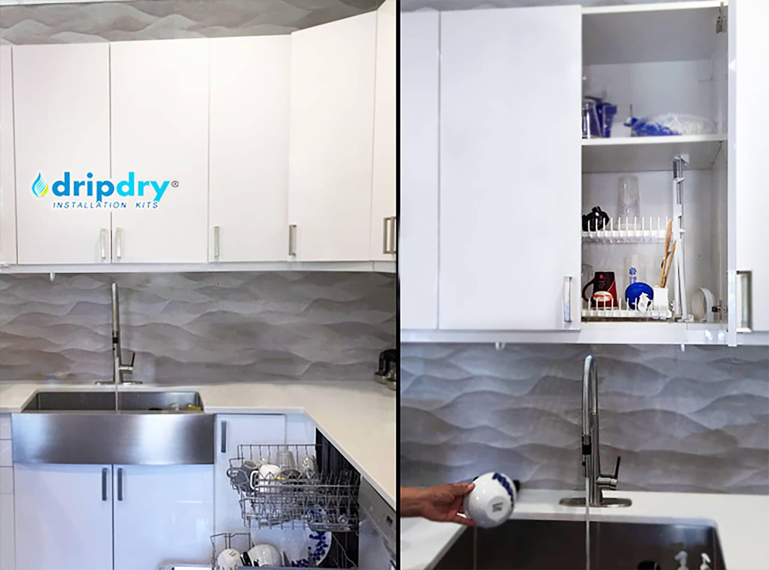 Hidden cabinet dish drying rack | DripDry